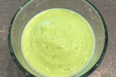 Smoothie: avocado, banana, kiwi, celery, pear, spinach, cashew nuts, chia seeds, hemp oil, almond milk, coconut water